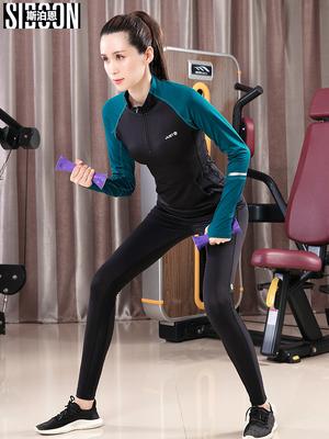 健身服女秋季冬网红瑜伽服2018新款速干瑜伽运动套装女长袖健身房