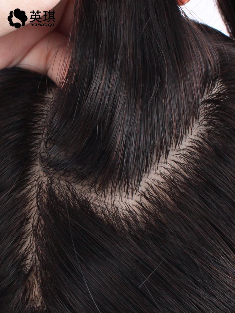 英琪真发女递针手织无痕补发块头顶全手织真发补发片长直发发片