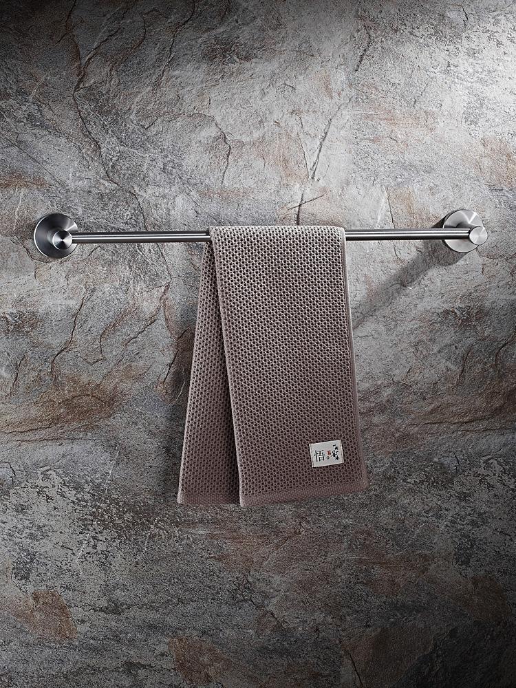卫生间毛巾架子毛巾杆不锈钢304单杆挂浴室毛巾架免打孔单杆挂件