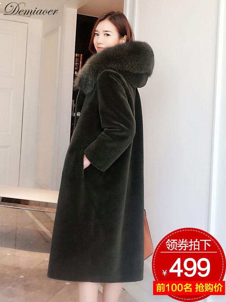 海宁2018秋冬新款羊剪绒皮草外套女中长款狐狸毛羊毛大衣连帽一体