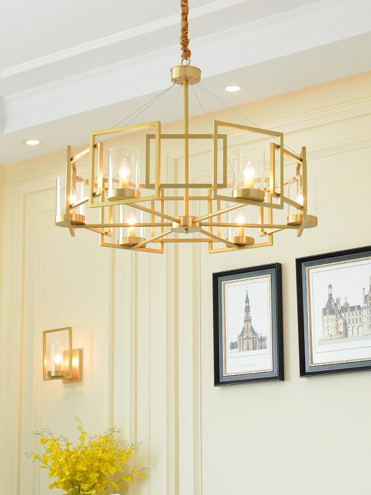 轻奢后现代吊灯简约客厅美式全铜灯设计师样板房卧室创意餐厅灯具