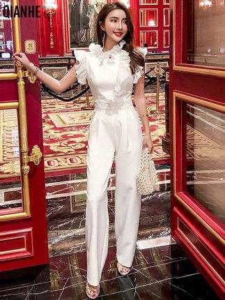 [乾赫新德瑞娜专卖店休闲裤]乾赫白色连体裤女夏2019新款收腰气月销量296件仅售299元