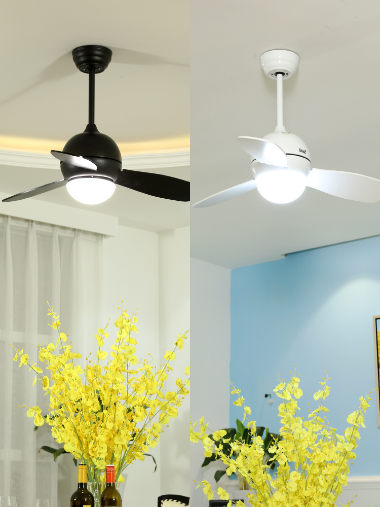 森林风黑色吊扇灯 儿童房卧室风扇吊灯 餐厅现代简约灯扇风扇灯