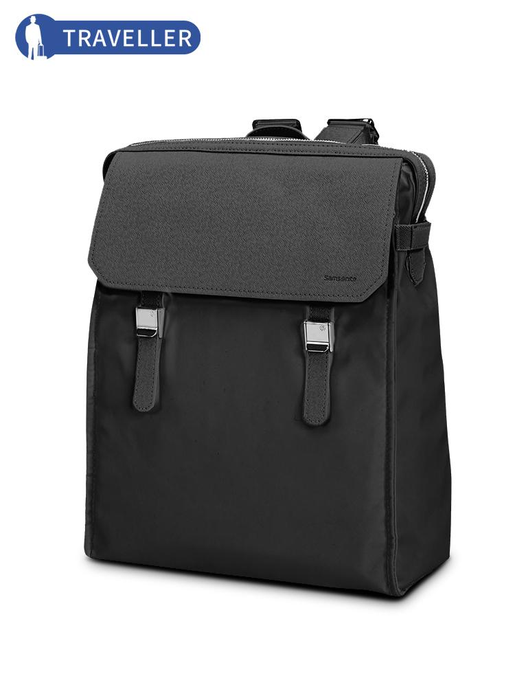 Samsonite-新秀丽背包56D皮 翻盖商务休闲电脑包轻盈耐磨双肩包
