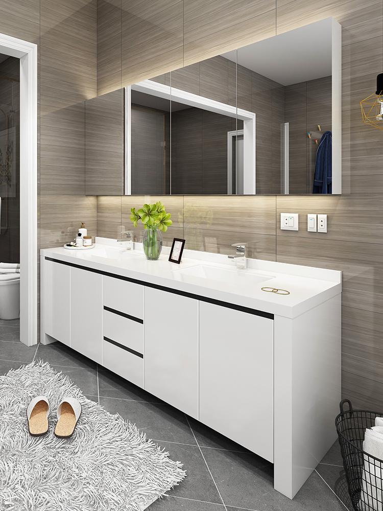 双盆浴室柜组合现代简约卫浴柜卫生间洗漱台洗手盆洗脸盆柜台盆柜