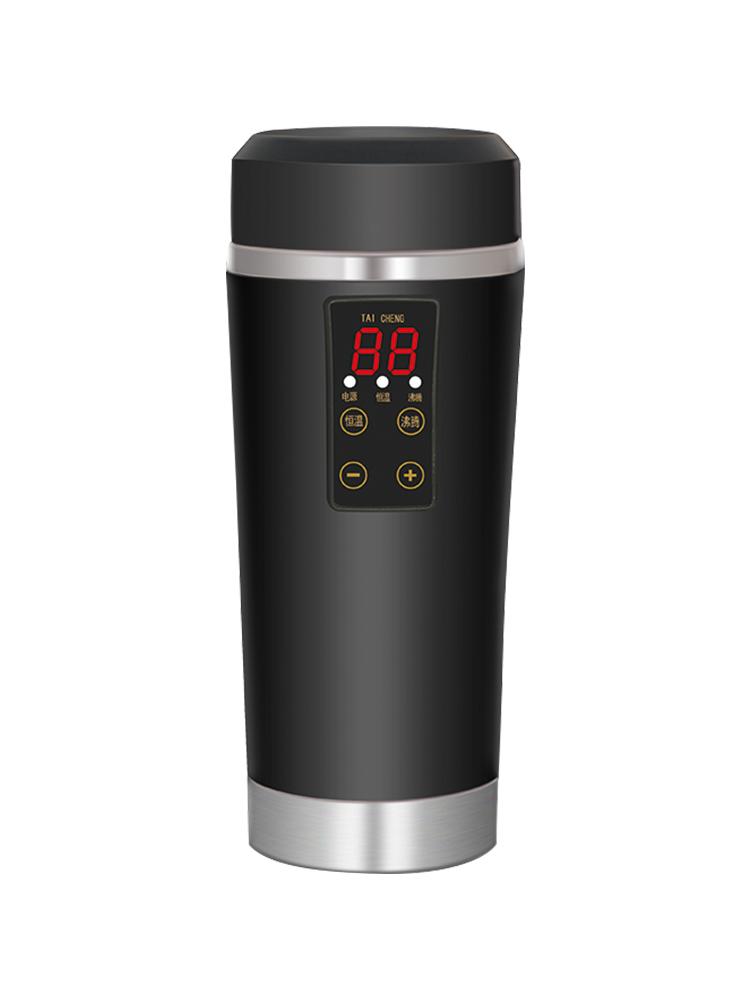 车载电热杯加热水杯汽车烧水壶12v24v通用智能保温杯热水器100度