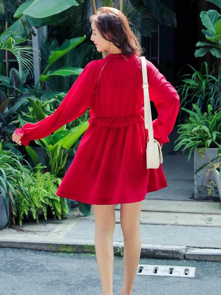 美琳妈咪孕妇连衣裙秋季新款2018韩版潮妈中长款3-9个月夏装短袖