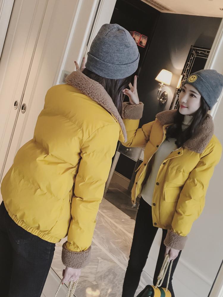 2018冬季外套面包服新款羊羔毛翻领女显瘦小棉袄学院加厚短款棉衣