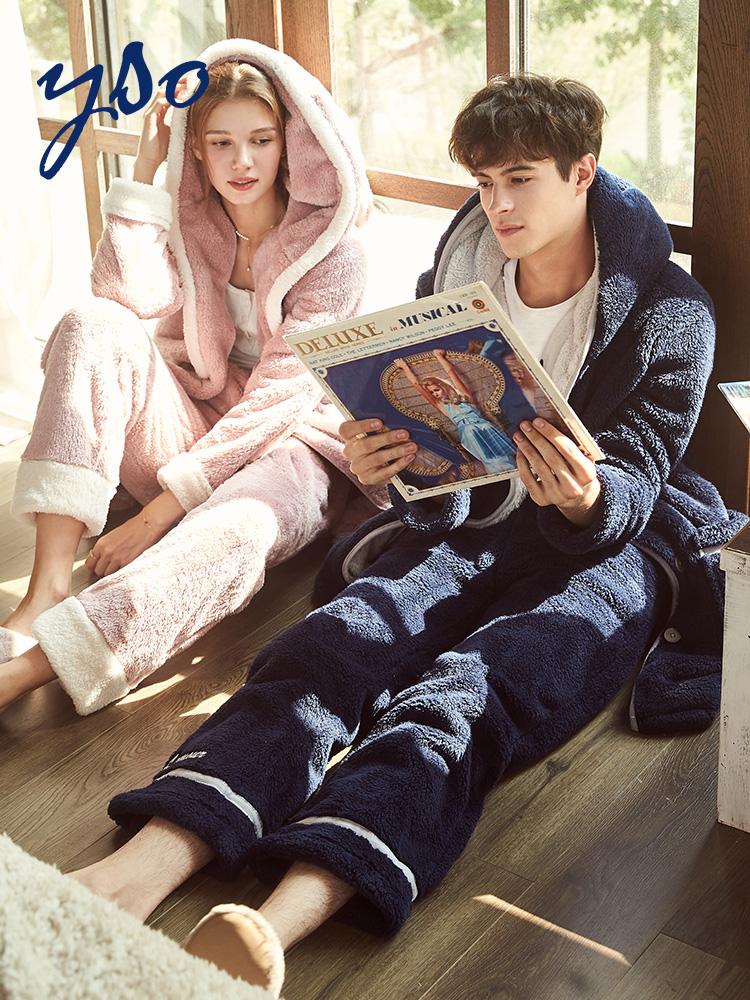 情侣睡衣珊瑚绒女秋冬季加厚保暖可爱韩版家居服套装法兰绒睡衣男