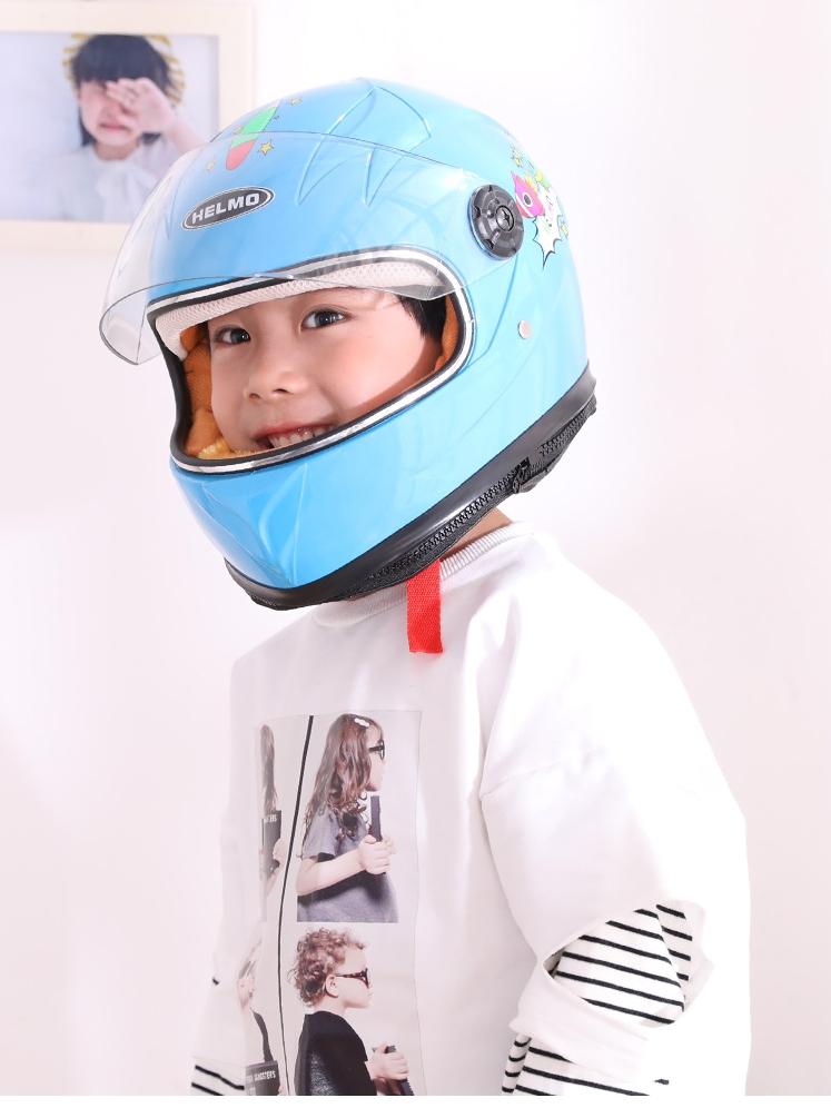 儿童电动摩托车头盔男女小孩子宝宝四季卡通安全帽全盔男孩女孩