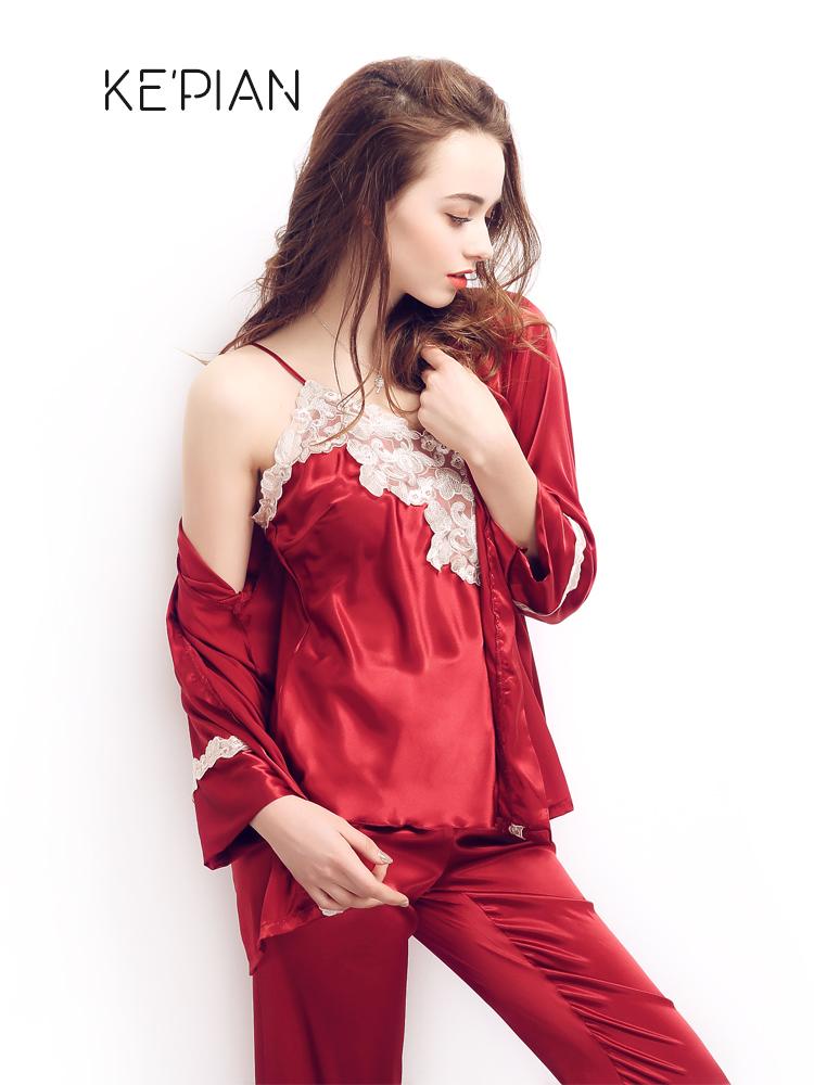 红色结婚睡衣三件套女春秋冰丝薄款夏季性感吊带纺真丝家居服套装