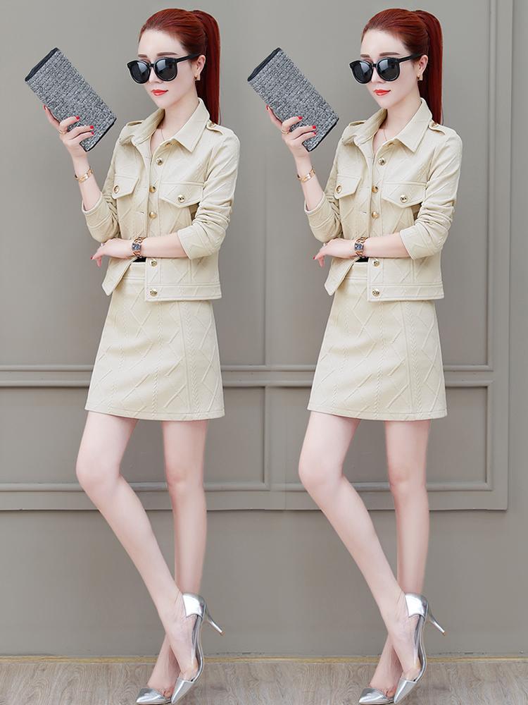 时尚套装裙女2018秋季新款女装韩版修身显瘦一步裙小香风两件套裙