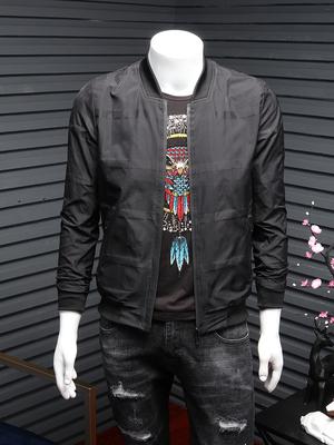 2018男装秋季潮流立领夹克男士青年格子修身棒球服外套男式潮衣衫