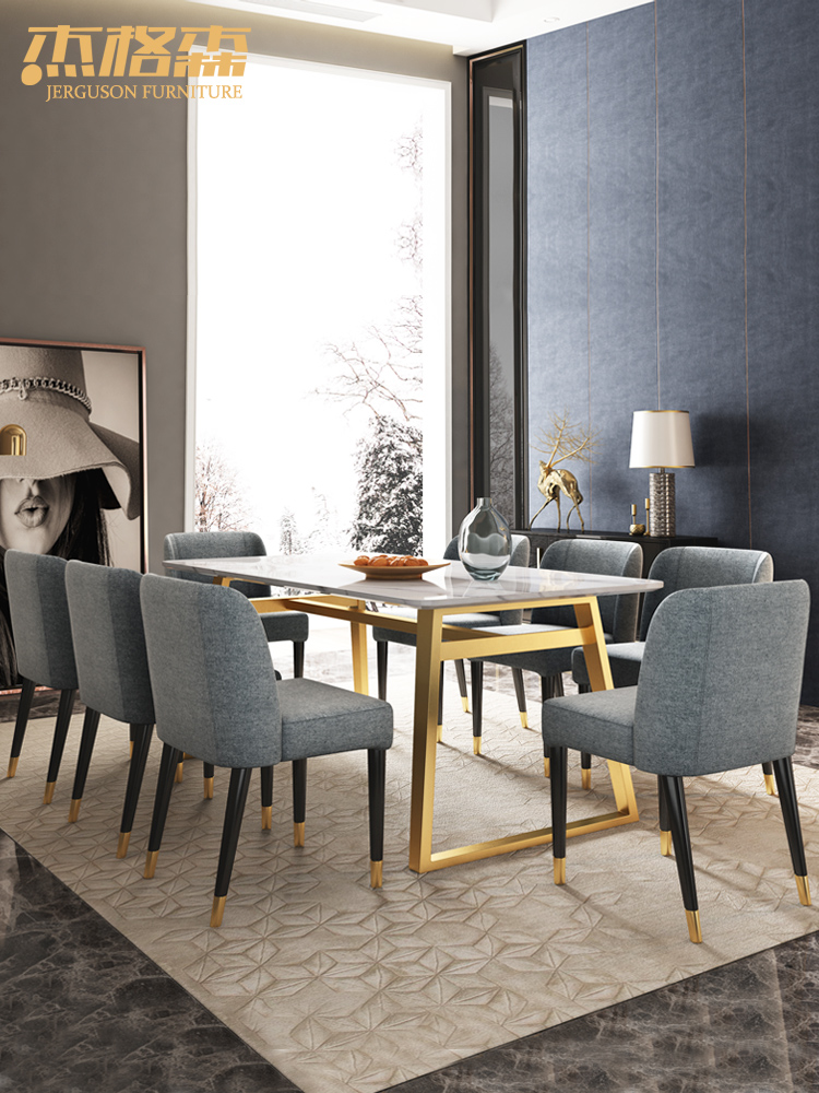 北欧大理石面餐桌椅组合现代简约轻奢长方形4人6人家用不锈钢餐台