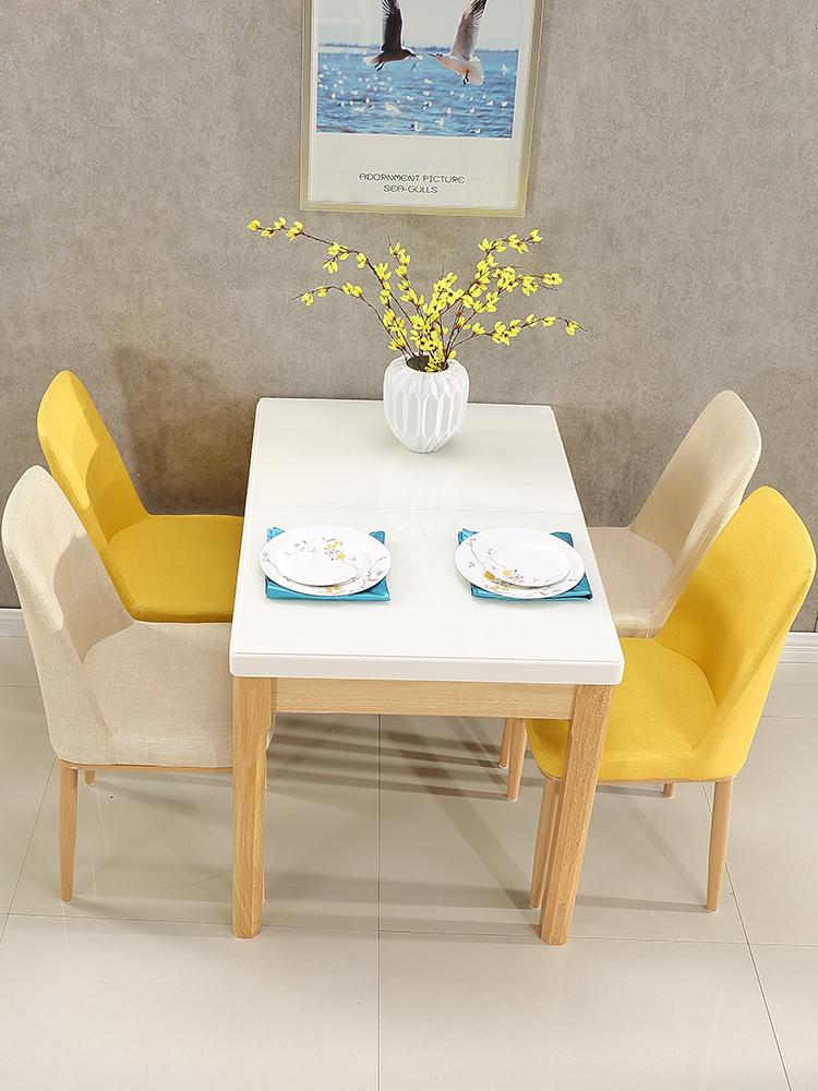 可伸缩餐桌钢化玻璃台面北欧实木餐桌椅组合现代简约小户型长方形