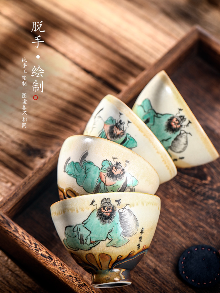 Jingdezhen hand - made the master sample tea cup cup a cup of pure checking ceramic kung fu tea cups, informs drunk a cup of tea