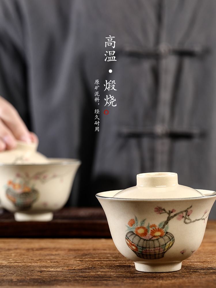 Pure manual tureen tea cups jingdezhen single hot Pure manual kunfu tea bowl hand - made by tea