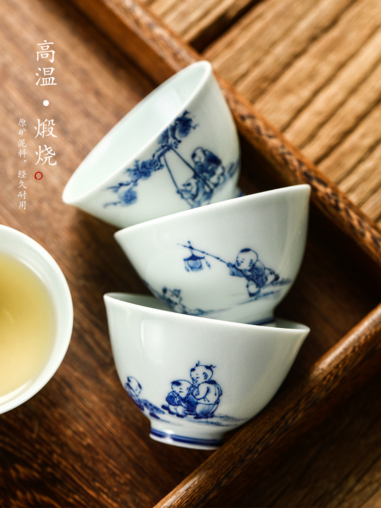 Blue and white master cup white porcelain kung fu tea cups jingdezhen ceramic hand - made baby play small single CPU archaize checking tea set
