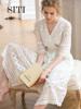 SITI白色连衣裙女夏新款V领长裙蕾丝超仙气镂空名媛复古气质度假
