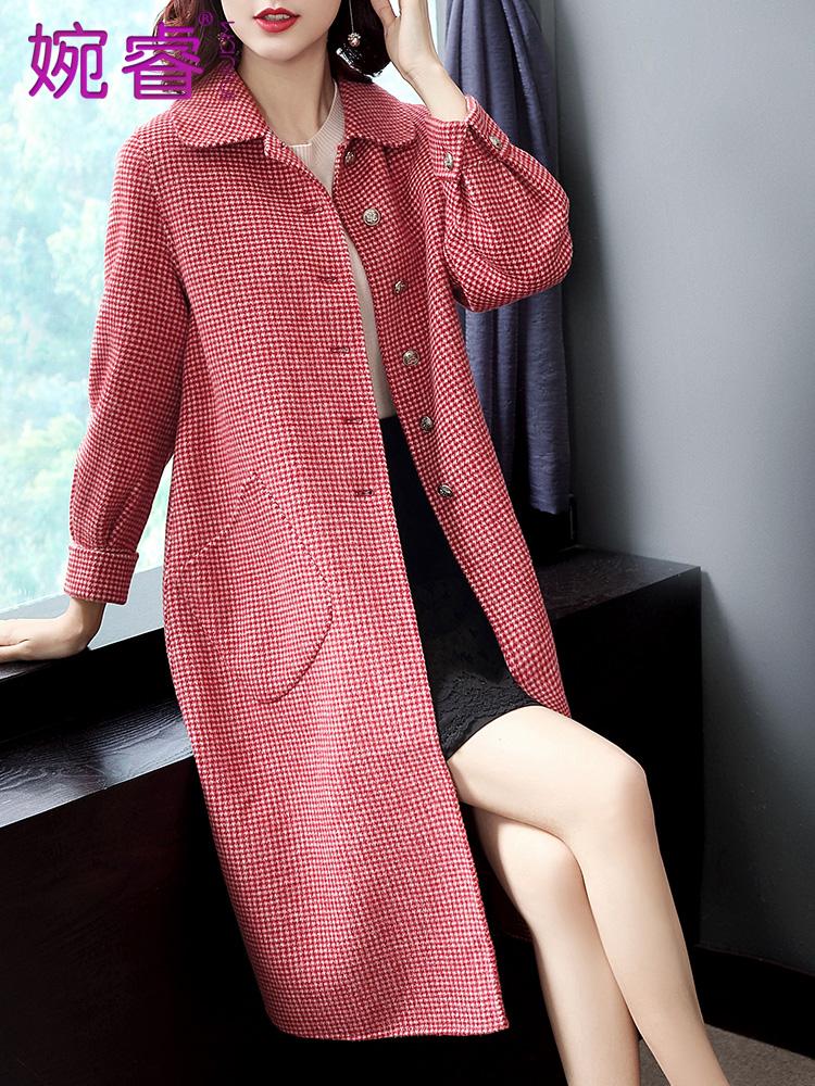 千鸟格双面呢大衣女赫本风羊毛呢大衣零羊绒外套女中长款显瘦韩版