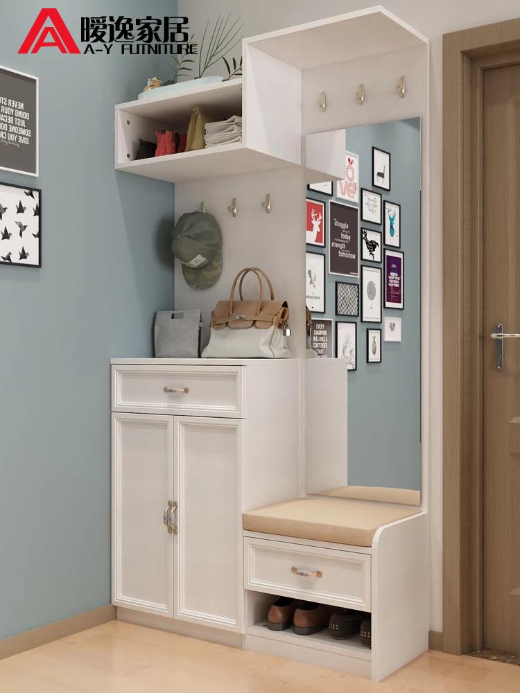 暧逸简约现代板式鞋柜多功能省空间家用衣帽柜简易门厅柜带换鞋凳