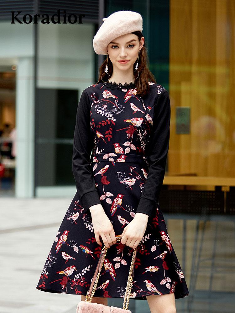 Koradior-珂莱蒂尔品牌女装2018秋装新款印花修身时尚气质连衣裙