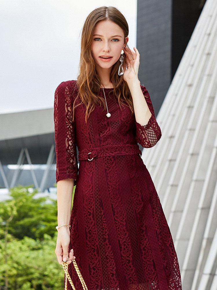 Koradior-珂莱蒂尔品牌女装2018秋装新款红色七分袖蕾丝连衣裙女