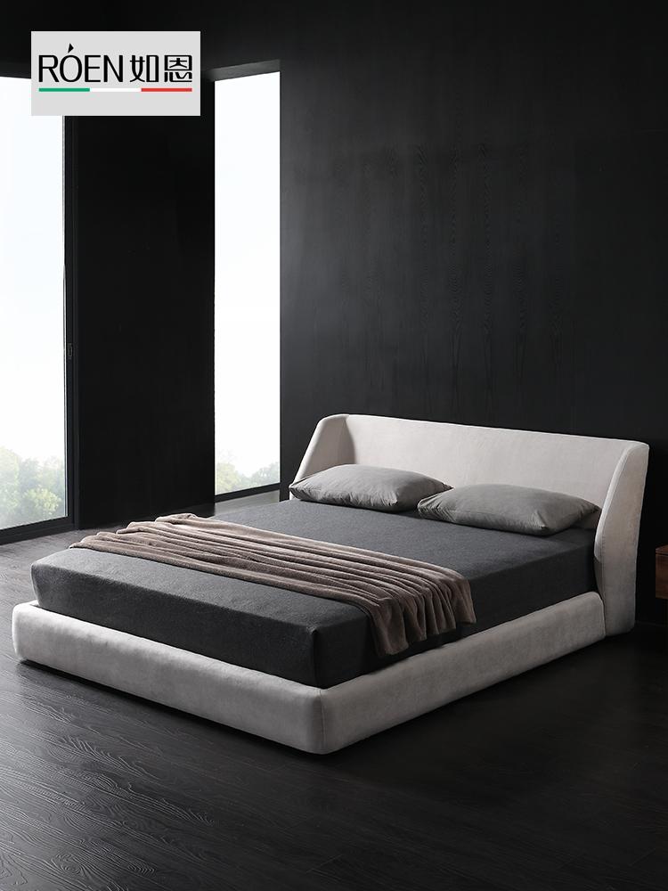 如恩 北欧现代简约风格布艺床小户型婚床箱体储物双人床1.5米1.8m