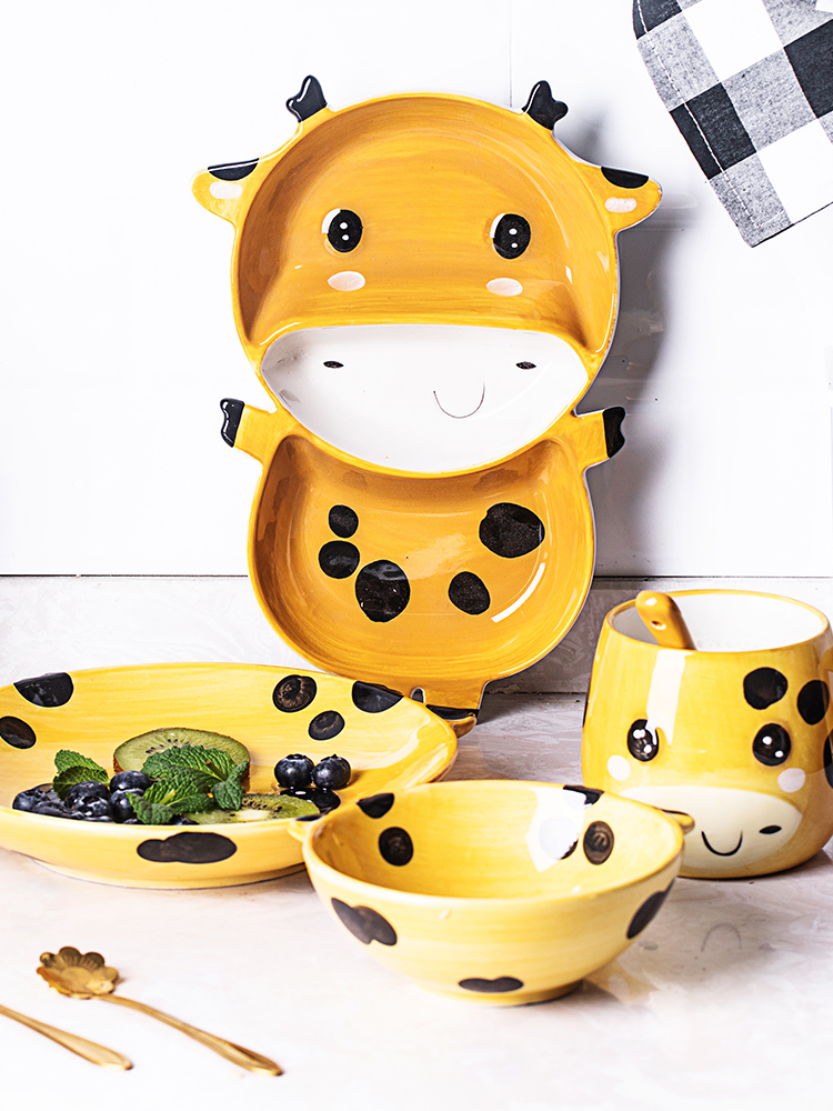 Orange leaves children to use spoon, ceramic tableware and lovely cartoon separate tray plates dishes suit baby home to eat