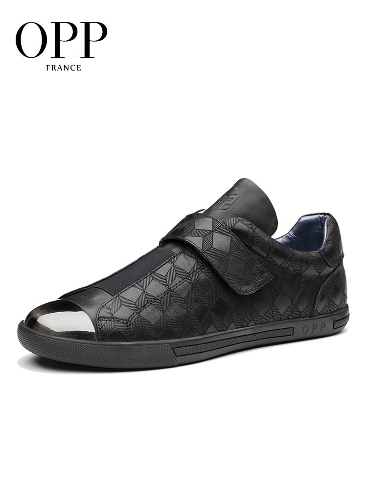 OPP男士秋季百搭休闲鞋真皮透气板鞋魔术贴套脚鞋时尚英伦低帮鞋