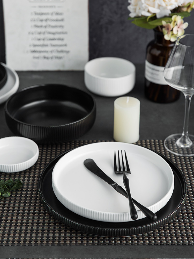 Lototo Nordic ins wind vertical stripes dishes single western food steak dishes and white household ceramic plate plate plate