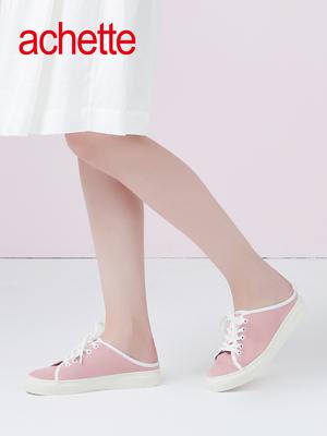 achette雅氏8KS5 2018春夏新品羊绒系带休闲运动穆勒 凉鞋女