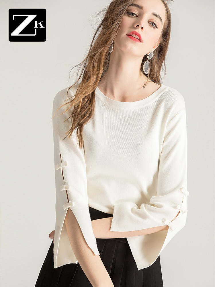 ZK套头毛衣女2018新款秋小清新薄款白色打底针织衫百搭喇叭袖上衣