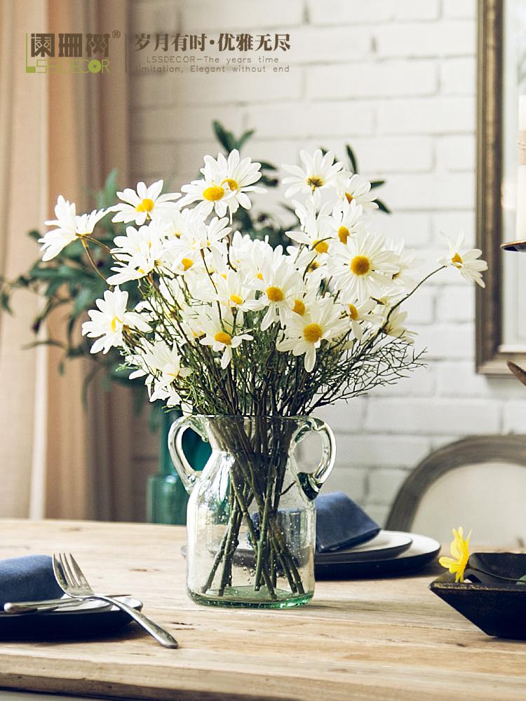 水滴雏菊仿真花花艺套装客厅假花插花绢花装饰花欧式餐桌花瓶摆件