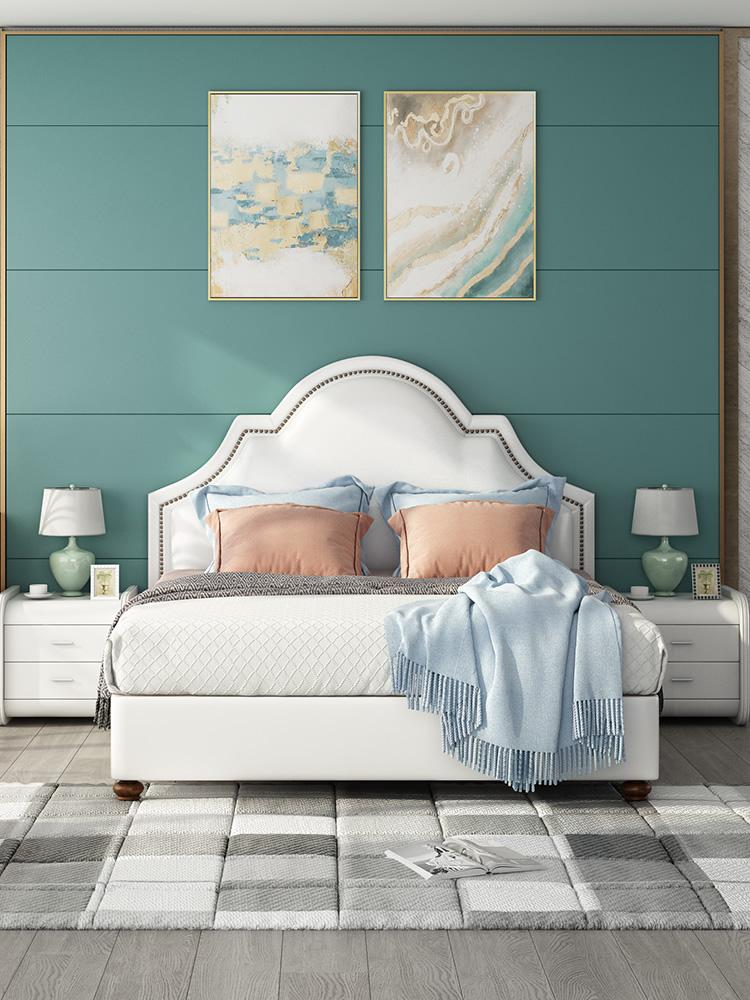 真皮床美式双人床主卧床 现代简约软包储物1.8米欧式皮艺床北欧床