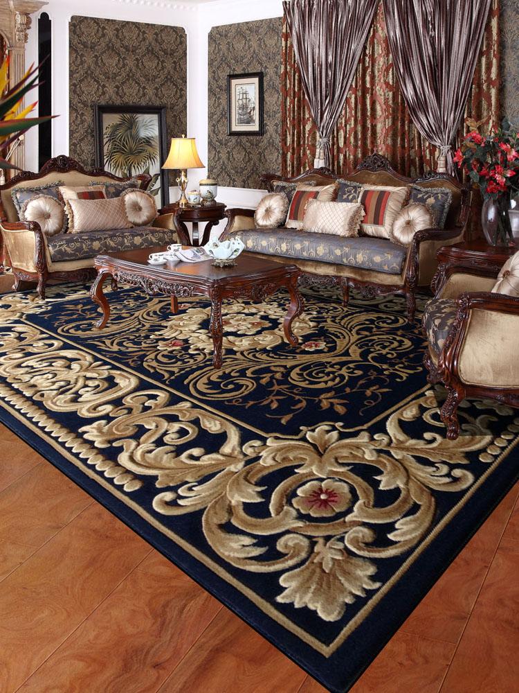 纯人工雕花欧式美式古典简约新中式地垫卧室书房客厅沙发茶几地毯