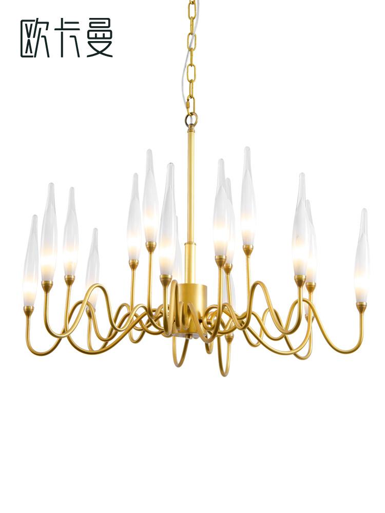 美式简约全铜吊灯 现代港式水晶轻奢客厅灯北欧后现代设计师吊灯