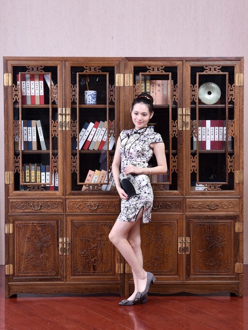 仙铭源红木鸡翅木书柜中式仿古书房展示架书橱玻璃储物柜实木书柜