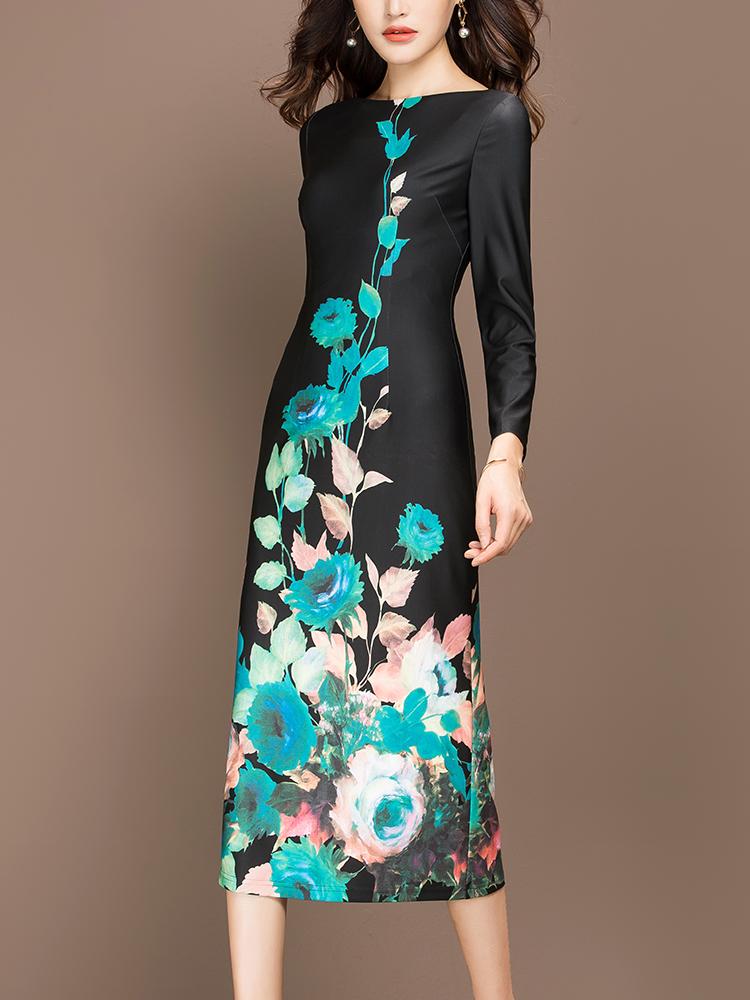 纳绎秋装女2018新款中长款修身显瘦裙子长袖气质印花针织连衣裙