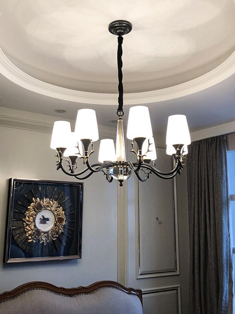 美式全铜吊灯客厅灯鹿角原创设计卧室餐厅吊灯乡村复古家用灯具