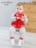 齐齐熊 男女童卡通贴布绣抓绒外出套装婴幼儿宝宝冬季保暖两件套