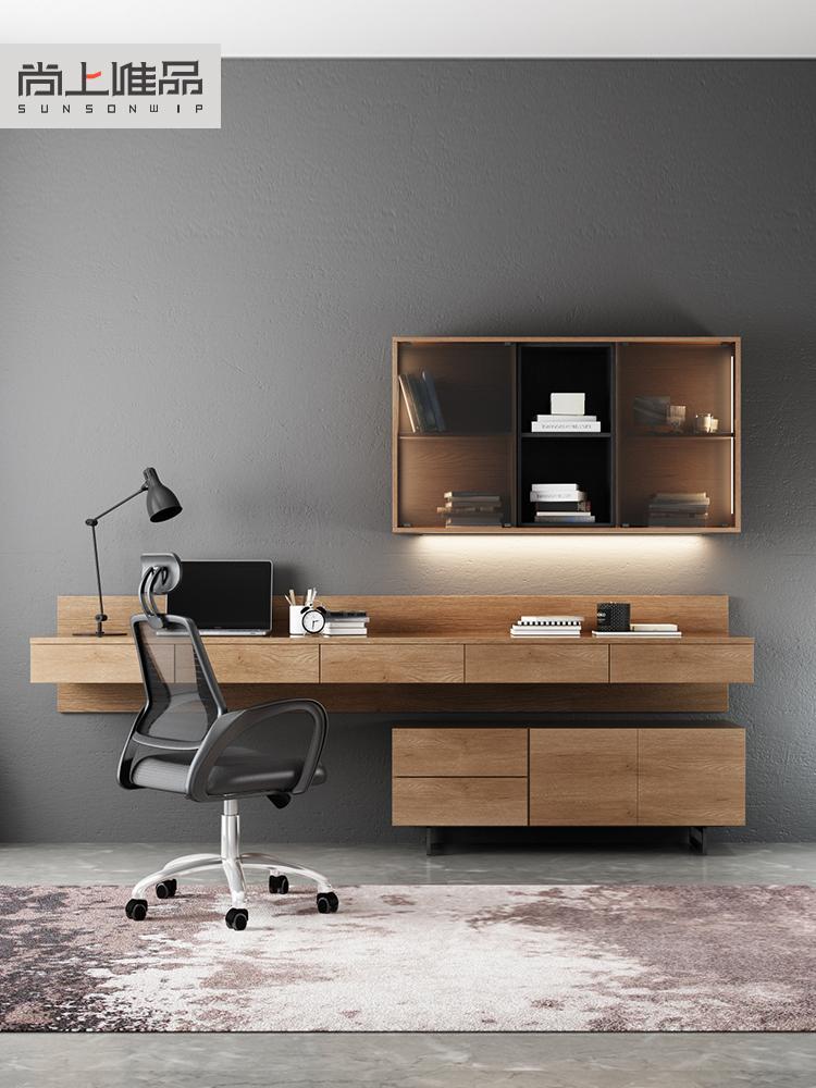 北欧多功能书桌书架简约家用电脑挂墙桌电视柜写字台书柜一体组合