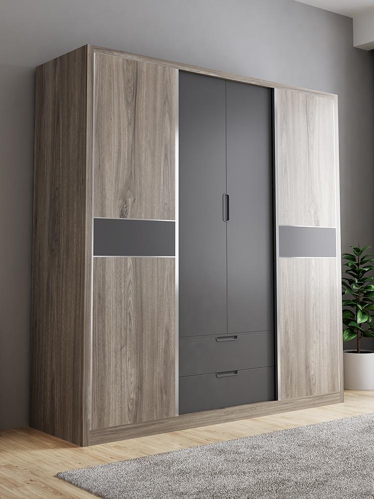 北欧现代简约组装卧室4门衣柜多功能储物简易推拉门板式滑门衣橱