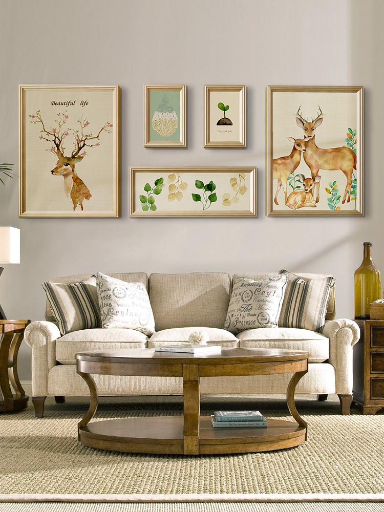 北欧风格客厅装饰画沙发背景墙挂画组合美式墙画现代简约餐厅壁画