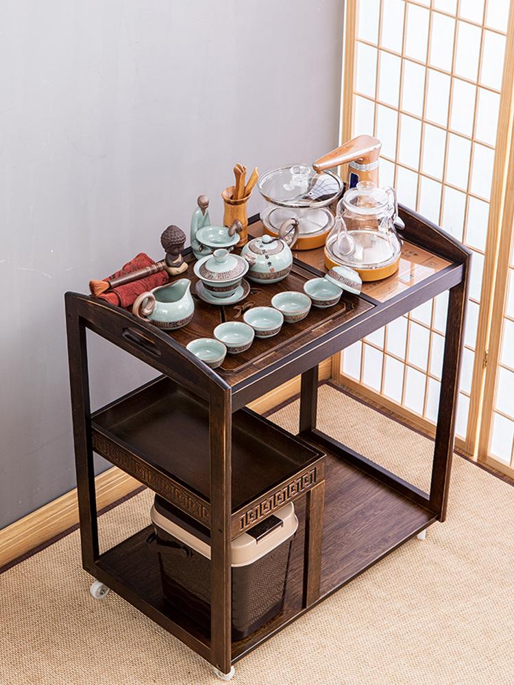 竹制移动茶车茶盘家用茶台简约自动上水电磁炉茶具套装小茶桌水柜