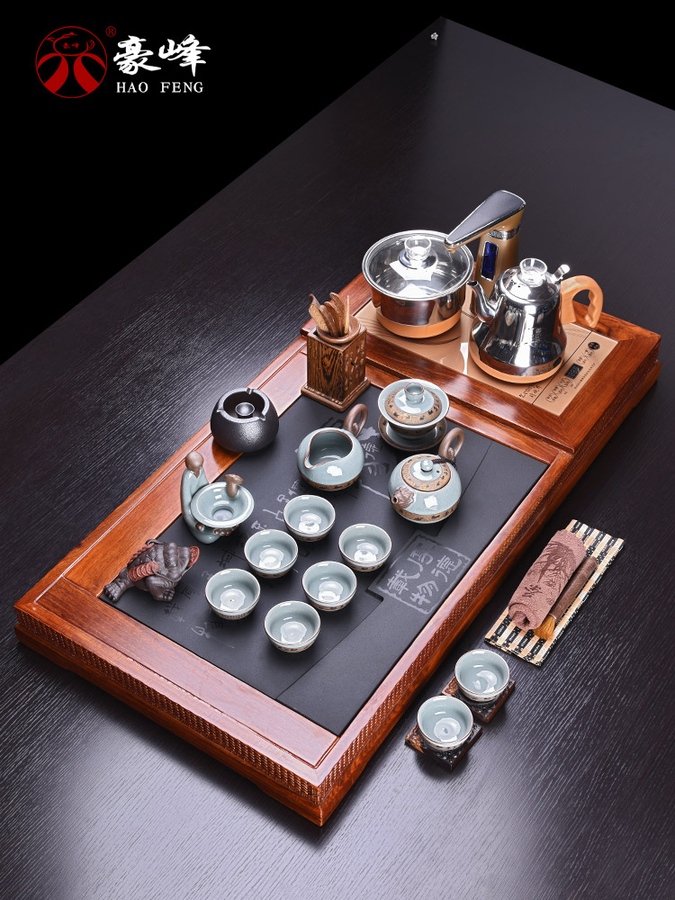 HaoFeng kung fu tea set purple ceramic tea set of a complete set of hua limu tea sharply stone tea tray was home outfit