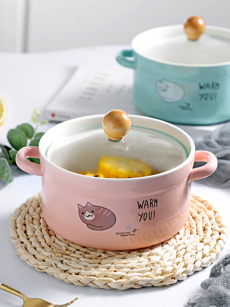 With the handle ceramic bowl mercifully rainbow such as bowl With cover rainbow such use tableware single dessert salad bowls of domestic large soup bowl bowl