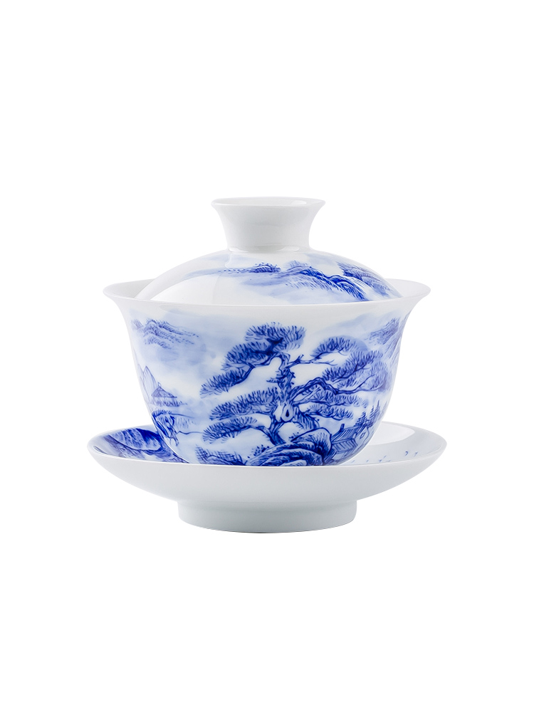 Jingdezhen up the fire which is hand draw landscape ceramic tureen tea cups kung fu three bowl of household individual
