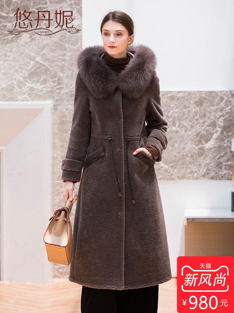 羊剪绒大衣女中长款2018新款海宁狐狸毛连帽颗粒羊毛皮草外套韩版