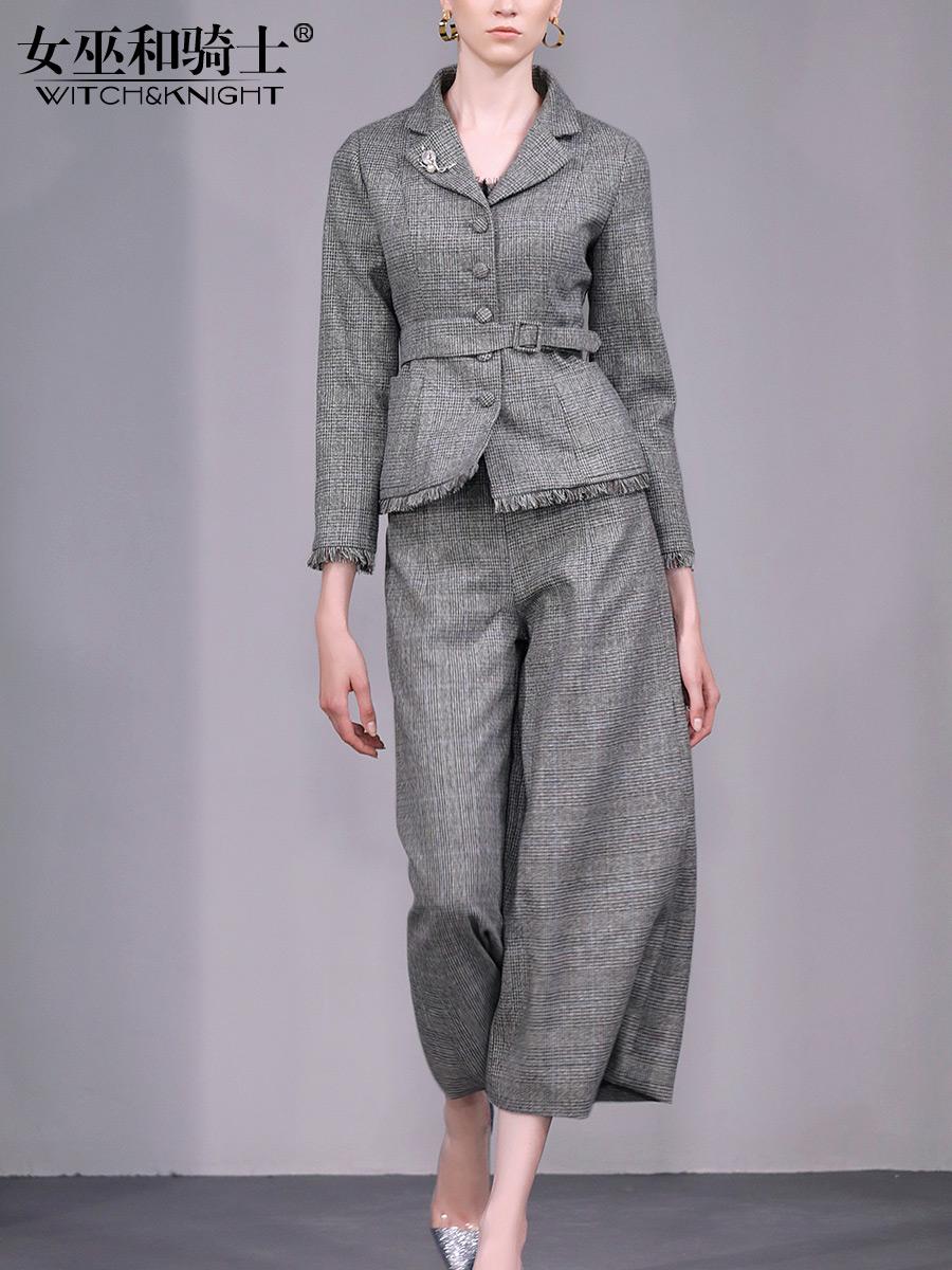 秋季女套装2018新款复古港味宽松休闲外套收腰休闲直筒裤两件套